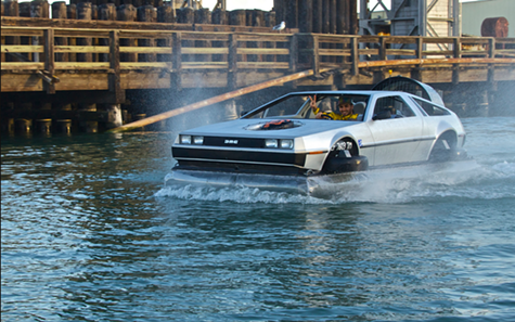 The Delorean hovercraft in action.