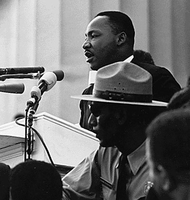 Dr. Martin Luther King giving his I Have a Dream speech in Washington, DC, on August 28, 1963.