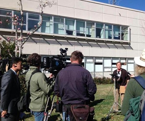 Copwatchs Andrea Pritchett speaks to press in front of the Berkeley Police Department on February 28.
