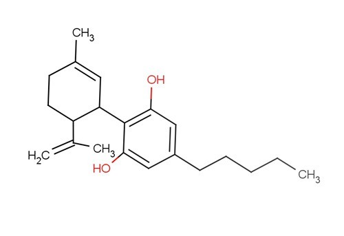 The marijuana molecula cannabidiol. Cell studies show it to be an anti-cancer agent.
