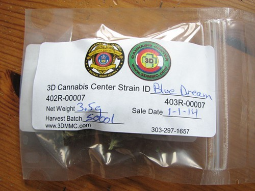 A legal eighth-ounce of Blue Dream bought in Colorado Jan. 1. Note the seal of law enforcement. California is next.