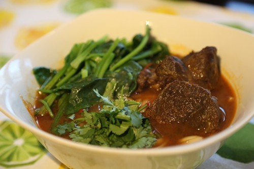 An early version of Tangs Taiwanese beef noodle soup